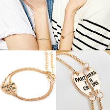 Best Friends Forever Split Heart Pendant Bracelet Set Friendship Jewelry BDA