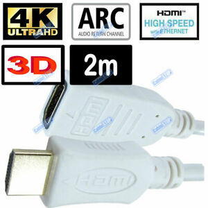 WHITE 2m HDMI EXTENSION MALE TO FEMALE 3D 4K CABLE FULL HD 2160p TV LEAD