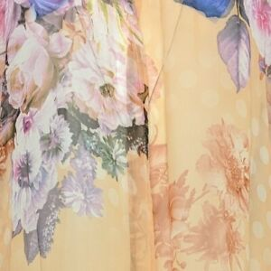 Serengeti Womens XL Apricot Roses Print Chiffon Long Kimono Cardigan Duster NWT