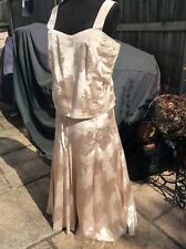 Two piece Bodice & Long skirt lined Petticoat pale gold set Sz 18