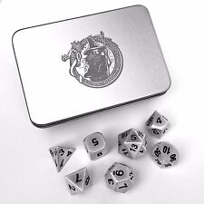 D&D Dice Set With Metal Case - DragonSteel Metal Polyhedral DnD, Pathfinder RPG