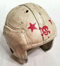 Vintage Old Antique Leather Pigskin Football Helmet white with red skull & bones