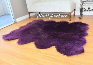 60 x 72 Eggplant Purple Shaggy Accents Faux Fur Area Rug Sheepskin Octo Pelts