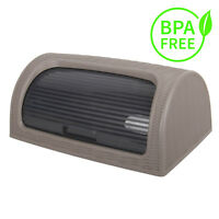 Plastic Bread Bin Box Kitchen Roll Top Food Storage Loaf CurvedBPA Free BROWN