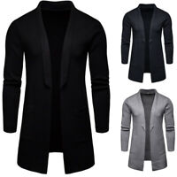 Mens Knitted Sweater Cardigan Open Front Slim Fit Long Sleeves Jacket Coat Tops