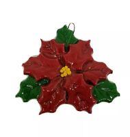 "Vintage Poinsettia dough ornament 4"" handmade Dough Designs by Maura Wood"