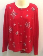 White Stag Red Christmas Cardigan Sweater Beaded Pearl Snowflake W/Scarf Med