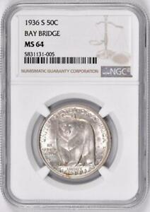 1936-S Bay Bridge Commemorative Half Dollar : NGC MS64