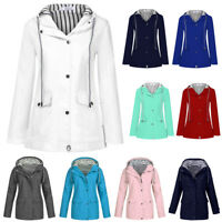 Plus Size Women Outdoor Solid Rain Jacket Hooded Waterproof Raincoat Outwear Lot