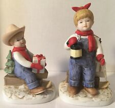 """Denim Days By Homco #1528 """"Holiday Sleds� (1985) 2 Pcs. Figurines"""