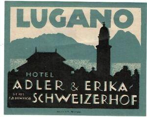 "HOTEL ADLER & ERIKA luggage ""MEIRINGEN"" ARTIST label (LUGANO)"