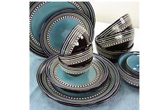 Gibson Cafe Versailles Blue 16-Piece Dinnerware Set Plates Bowls Microwave Safe