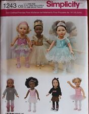 """18"""" GIRL DOLL CLOTHES Simplicity Sewing Pattern 1243/439 American Made NEW Uncut"""