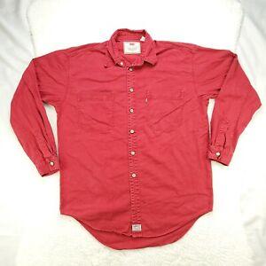 Vintage Levis Mens Size M Classic Denim Button Front Shirt Red Tab