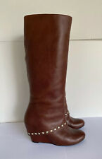 BCBG Generation Brown Wedge Heel Boots Studded knee high Tall Boots 8.5