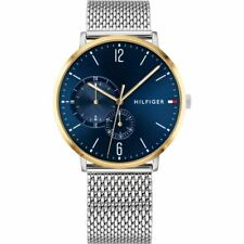 New Tommy Hilfiger Men's Brooklyn Chronograph Silver Blue Watch 1791505