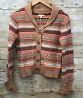 Joie Women's Large Cashmere Wool Tan Striped Multicolor Knit Cardigan Sweater