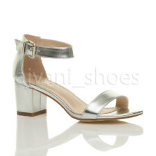 Womens Ladies Low Mid Heel PEEP Toe Buckle Ankle Strap Party Strappy Sandal Size UK 6 / EU 39 / US 8 Silver Metallic