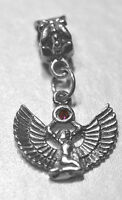 LOOK Egyptian Jewelry WINGED ISIS Ruby stone european bead Sterling Silver Jewel