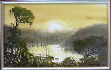 Australian Artist Stephen Mann's original watercolour titled  'Church Point'.