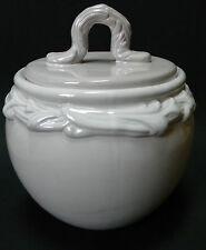 Baum Bros Style Eyes Embossed Whiteware Terra Cotta Canister Jar Floral Scroll