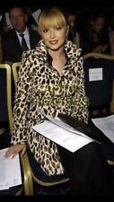 KAREN MILLEN Leopard Pony Faux Fur Trench Coat UK 8