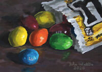Original Still Life Painting of M&Ms - (5 x 7 inch) by John Wallie