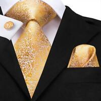 Men's Tie Silk Necktie Set Gold Floral Woven Tie Hanky Cufflinks Party Wedding