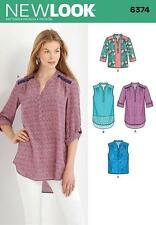 NEW LOOK SEWING PATTERN Misses' Shirts with Sleeve & Length Options 10 - 22 6374