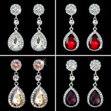 Pierced Pretty Crystal Tear Drop Sparkling Diamante Bridal Style Dangle Earrings