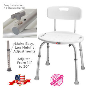 Bath And Shower Slip-Resistant Chair Adjustable Back and Legs Handle Grips Safe