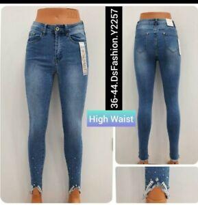 Women High Waist Stretch Ripped Skinny Slim faded Denim Pants Ladies Jeans...