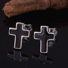 925 Sterling Silver Plated Black Cross Stud Earrings + Free Gift Bag.