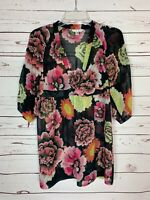 Cabi Women's XS Extra Small Brown Pink Floral Fall Tunic Top Blouse Shirt $90