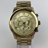 Michael Kors Men's Quartz Watch Chronograph Gold Case 44mm MK8077