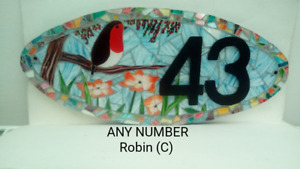 Robin House Number Plate Door Sign Plaque Any Number Coloured Glass Mosaic