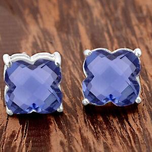 Tanzanite Simulated Stud 925 Sterling Silver Earrings Jewelry DGE1023_D