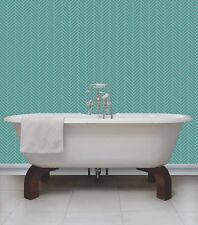 Teal & Cream with Glitter, Herringbone Tile Design Kitchen/ Bathroom Wallpaper