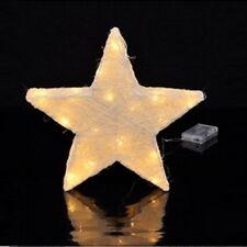 Sisal Stern Sisalstern komplett mit Lichterkette mit 20 warmweißen LEDs beige