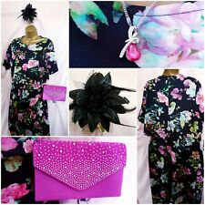 Size 22 Mother Bride/Wedding Guest Floral Dress & New Accessories (22/APB)