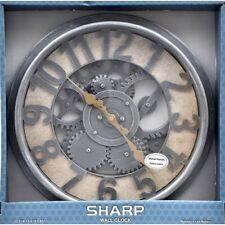 "Sharp Industrial Gear Wall Clock 13.5"""