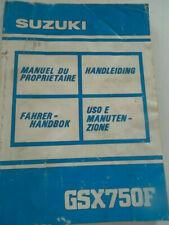 MANUALE USO E MANUTENZIONE SUZUKI GSX 750 F