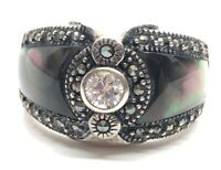 Vintage Sterling Silver Ring 925 Size 9 NF CZ Marcasite Shell Band Thailand