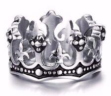 Men Women Stainless Steel Ring Silver Royal King Crown Knight Fleur De Lis Cross