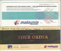 MALAYSIA AIRLINES LOT OF 2 PASSENGER TICKET AND BAGGAGE CHECK