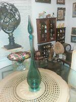 "Vintage Blown Glass 23 3/4"" Genie Bottle Blue Decanter Mid Century Footed NICE!"