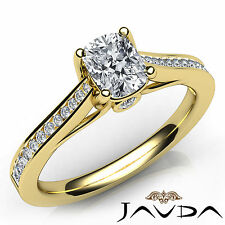 Channel Set Cushion Cut Diamond Engagement Ring GIA H SI1 18k Yellow Gold 0.93Ct