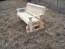 Cypress Wood Freestanding Glider Slider Porch Yard Bench Swing Usa