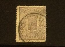 Stamp NETHERLANDS HOLLAND 1869 Scott # 22. Coat of arms Violet. Used #gea313