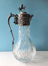 Cristal cortado fino Victoriano clarete jarra/jarra, Placa de Plata, Bacchus Máscara.
